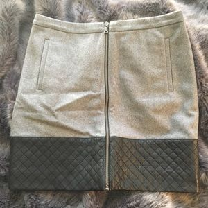 Madewell Grey and Black Quilted Leather Skirt
